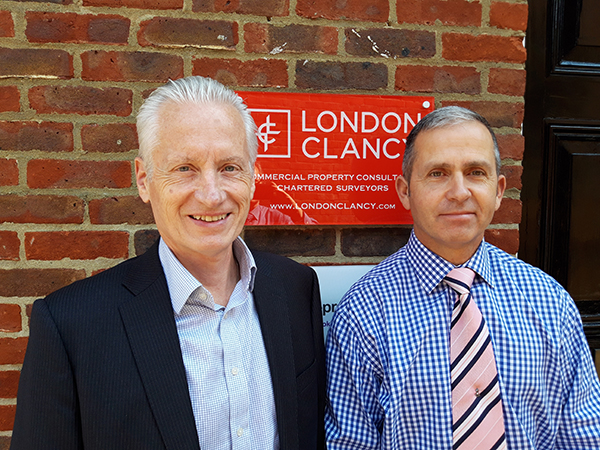Mark Clancy (left) welcoming Mark Everett (right) to London Clancy